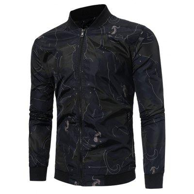 Male Simple Casual Stand-up Collar Zip up Jacket