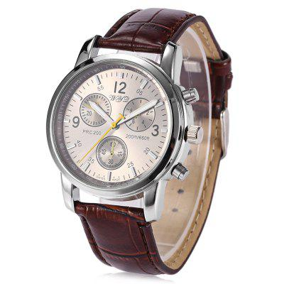 WYQ 89007 Trendy Leather Band Men Quartz Watch