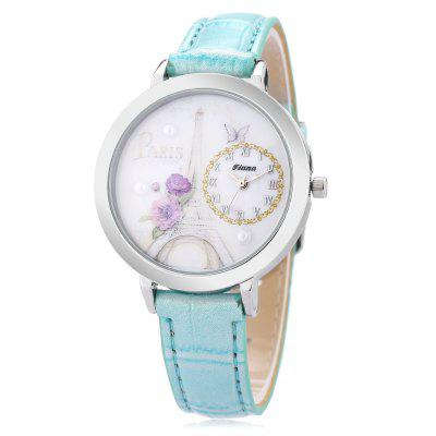 Trendy Leather Band Women Quartz Watch