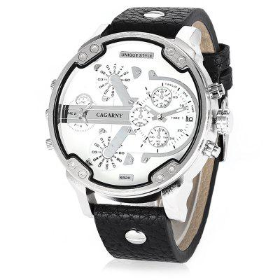 CAGARNY 6820 Trendy Leather Band Men Quartz Watch