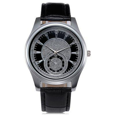 GENEVA Trendy Leather Band Men Quartz Watch