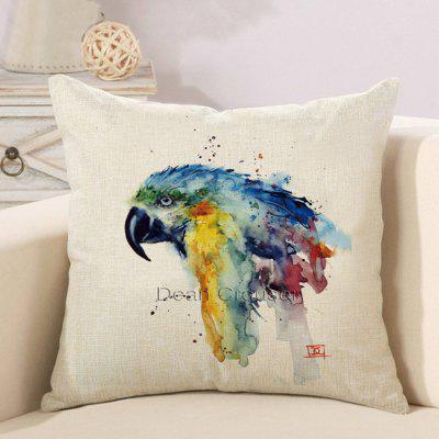LAIMA BZ126 - 1 Flax Watercolor Parrot Throw Pillow Case