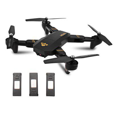 TIANQU XS809W Foldable RC Quadcopter - RTF - BLACK WITH THREE BATTERIES, 2MP CAMERA + AIR PRESS ALTIT from Gearbest