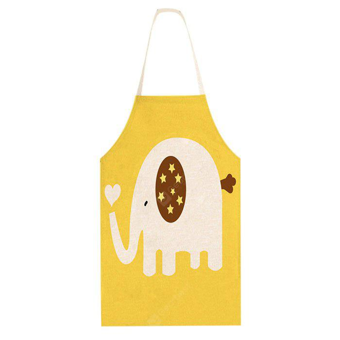 Cotton Linen Apron Cartoon Elephant Pattern for Cooking