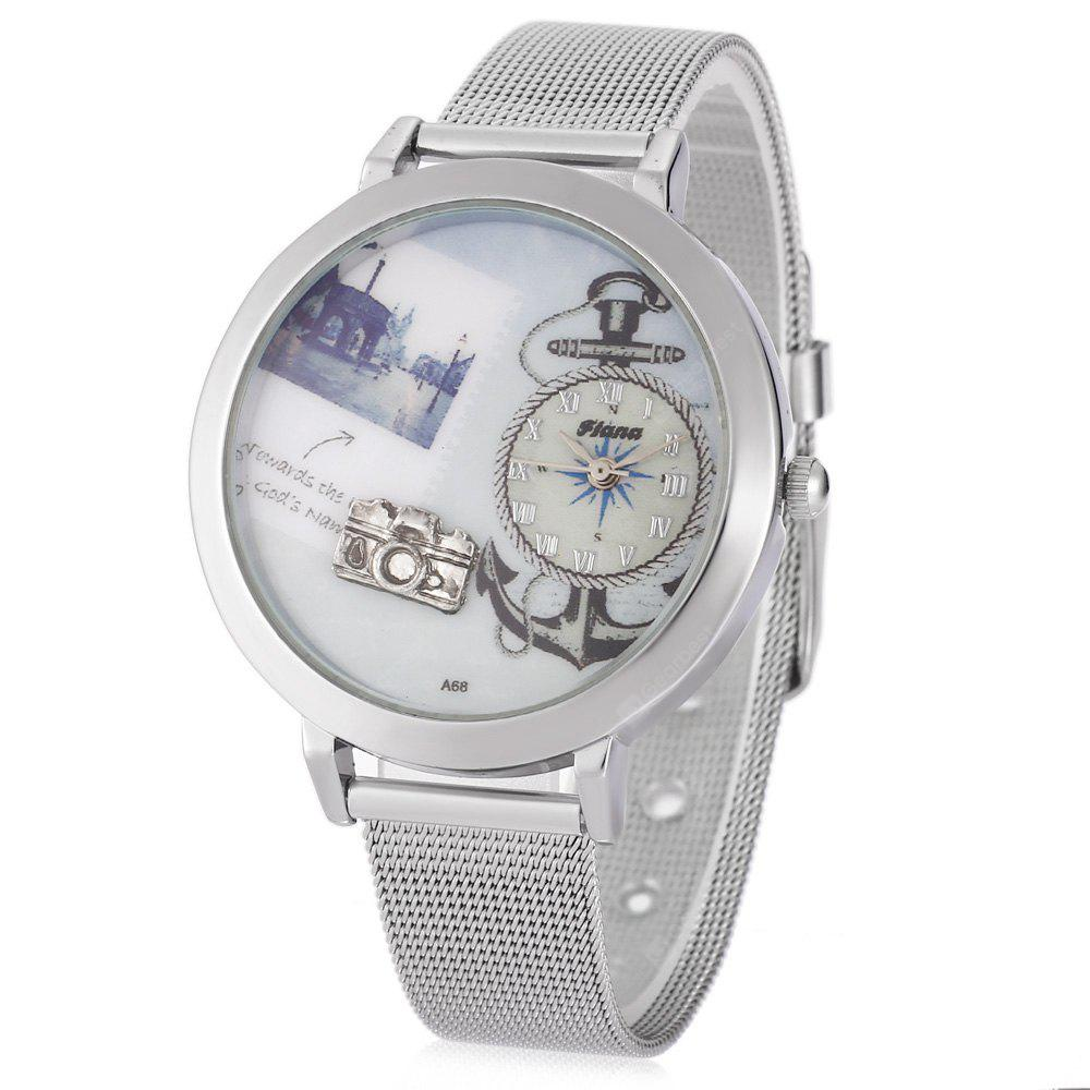 Trendy Steel Mesh Band Women Quartz Watch