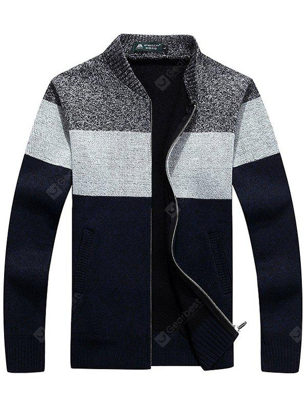 Male Cool Casual Stand-up Collar Spliced Sweater