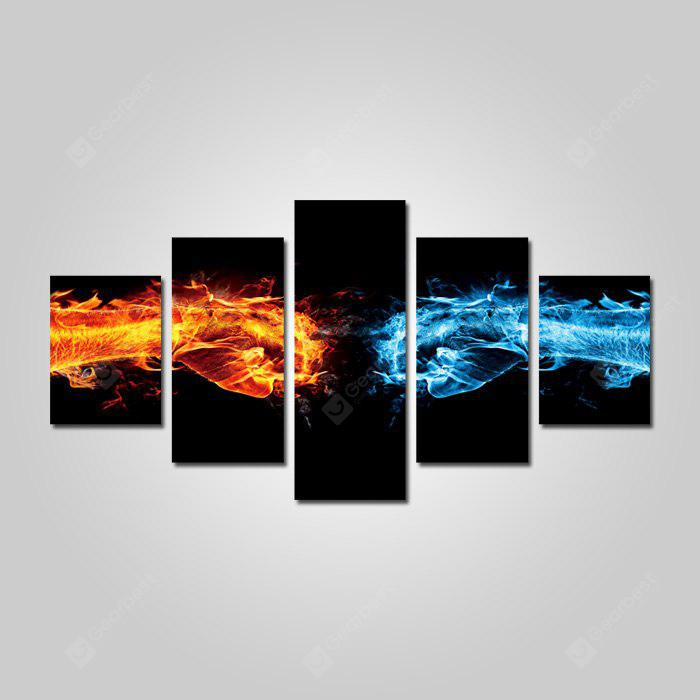 God Painting Unframed Flame Fist Stampe Cool Wall Art 5PCS