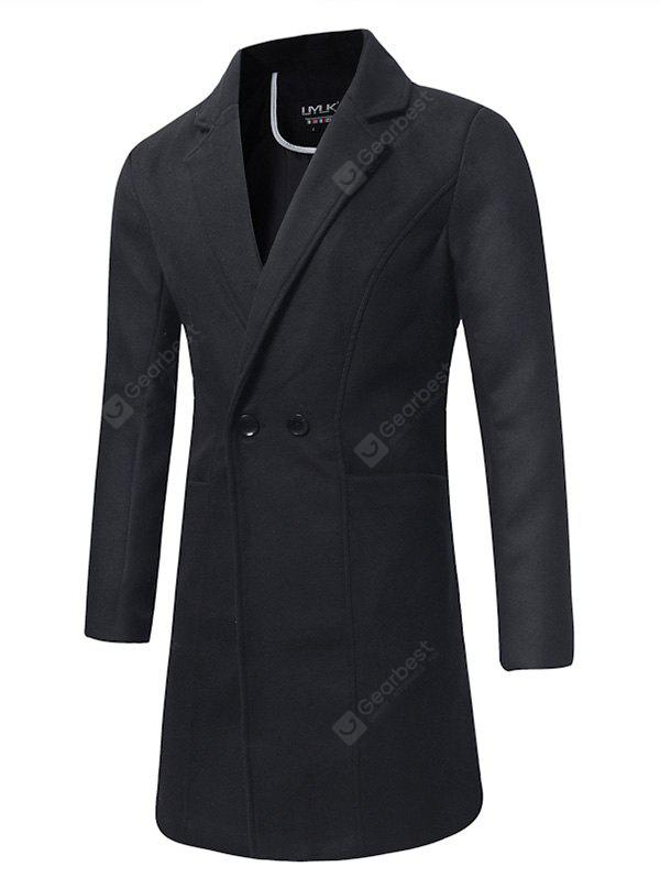Long Solid Color Double Breasted Wool Jacket