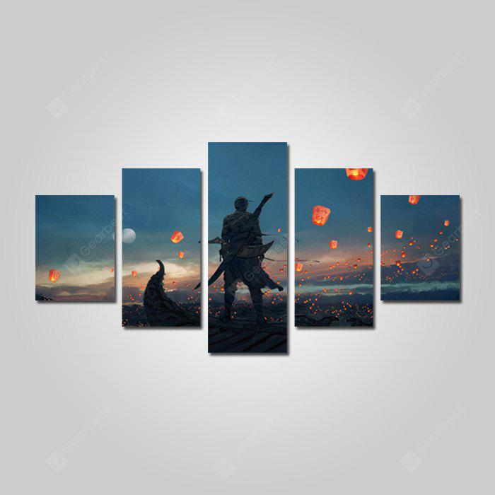 God Painting Cartoon Modern Canvas Print Wall Art 5pcs