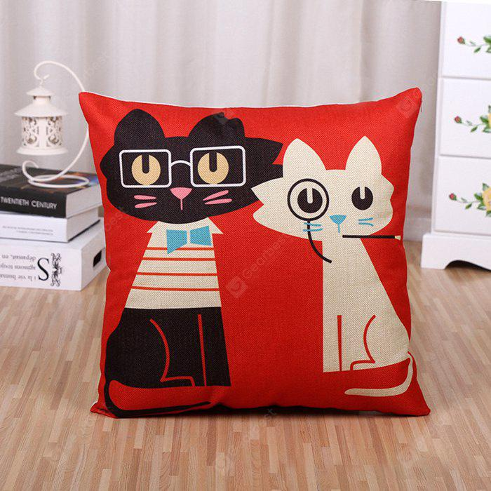 LAIMA BZ172 Cartoon Cats Pattern FlaxThrow Pillow Case