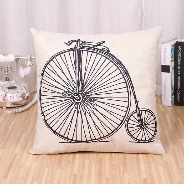 LAIMA BZ171 - 1 Cool Bicycle Pattern FlaxThrow Pillow Case