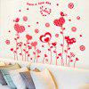 Heart Love Pattern Decal Home Decor Wall Sticker 2pcs - RED