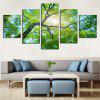 Modern Beautiful Tree Print Frameless Canvas Painting 5PCS - GREEN