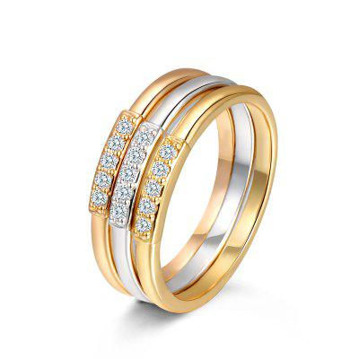 T400 4364 Artificial Zircon Women Stacked Ring 3PCS