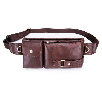 BULLCAPTAIN Retro Leather Cellphone Waist Bag