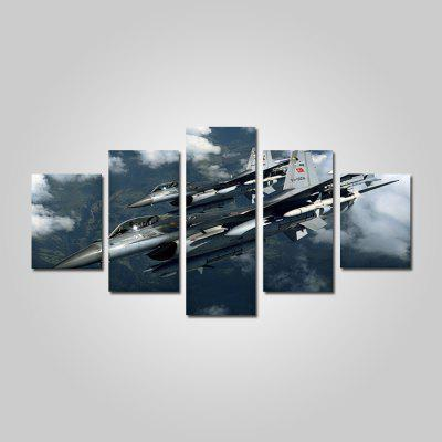 God Painting Cool Aircraft Pattern Print Canvas Decor 5 piezas