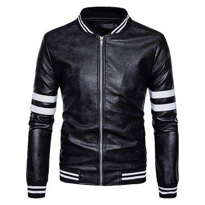 Men Stand Collar Faux Leather Jacket