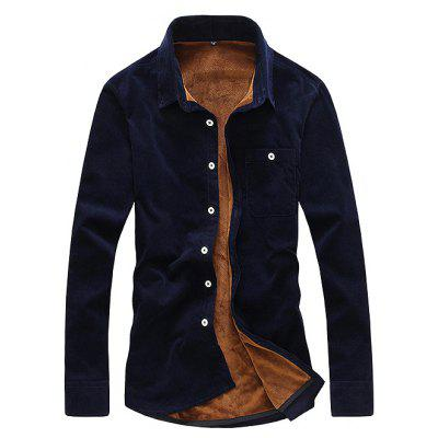 Male Casual Simple Pure Color Thickening Shirt