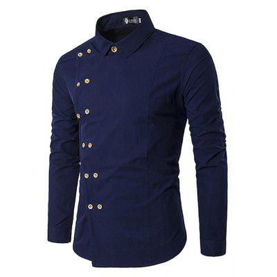 Diagonal Double Breasted Fitted Shirt