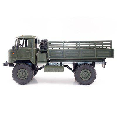 WPL B - 24 1:16 2.4GHz Off-road RC Military Truck - RTRRC Cars<br>WPL B - 24 1:16 2.4GHz Off-road RC Military Truck - RTR<br><br>Battery Information: 6V 700mAh NiCd<br>Car Power: Built-in rechargeable battery<br>Channel: 4-Channels<br>Charging Time: 60mins<br>Control Distance: 30-80m<br>Detailed Control Distance: About 35m<br>Drive Type: 4 WD<br>Functions: Forward/backward, Forward / Turn light, Climb, LED<br>Material: ABS, Plastic<br>Motor Type: Brushed Motor<br>Package Contents: 1 x Truck ( Battery Included ), 1 x Transmitter, 1 x USB Charging Cable<br>Package size (L x W x H): 42.00 x 23.00 x 17.00 cm / 16.54 x 9.06 x 6.69 inches<br>Package weight: 1.2840 kg<br>Product size (L x W x H): 34.50 x 14.00 x 15.00 cm / 13.58 x 5.51 x 5.91 inches<br>Product weight: 0.7830 kg<br>Proportion: 1:16<br>Racing Time: 20~30mins<br>Remote Control: 2.4GHz Wireless Remote Control<br>Speed: 10km/h<br>Transmitter Power: 3 x 1.5V AA battery (not included)<br>Type: Racing Truck