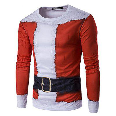 Simple Crew Neck Printing Christmas T-shirt