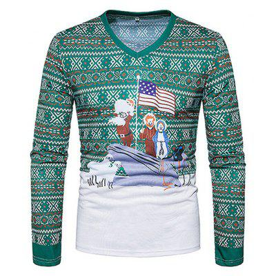 Retro Printing Long Sleeves Christmas T-shirt