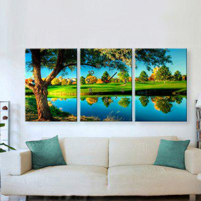 Decorative Picture with Wall Clock Wood River