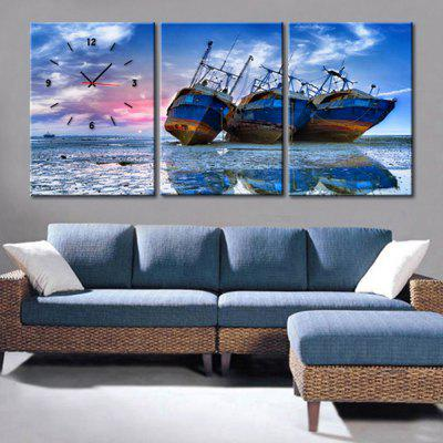 Decorative Picture Wall Clock Three Ships on Shore