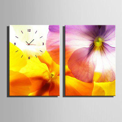 E - HOME Wall Clock Flower Canvas Painting Artwork 2PCS