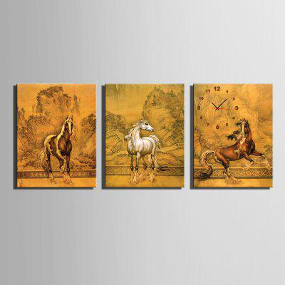 E - HOME Horse Pattern Canvas Painting Wall Clock 3PCS