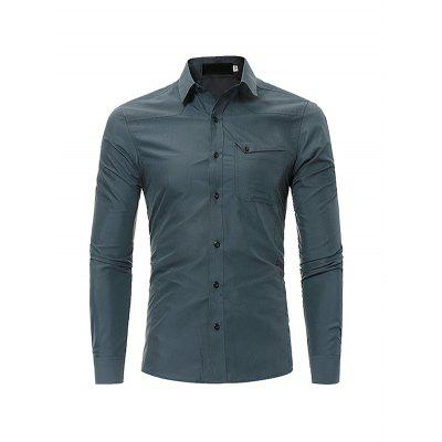 Male Simple Pure Color Shirt with Chest Pocket