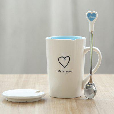 Heart Pattern Mug with Cover Spoon