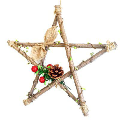 Creative Handmade Wooden Pentagram Shape Decoration 1PC