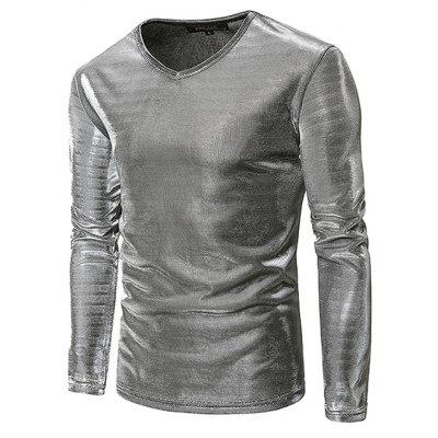 Unique V Neck Long Sleeve T-shirt