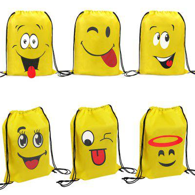 Cute Smiley Face Expression Drawstring Storage Bag 6PCS