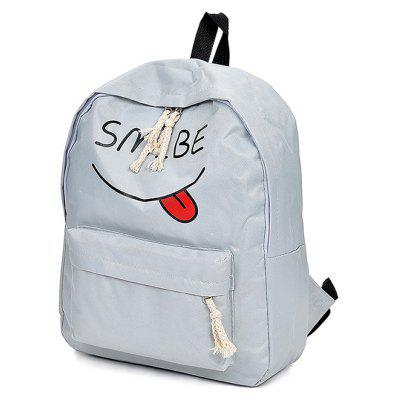 Buy LIGHT GRAY Women Trendy Cartoon Printed Laptop Backpack for $11.28 in GearBest store