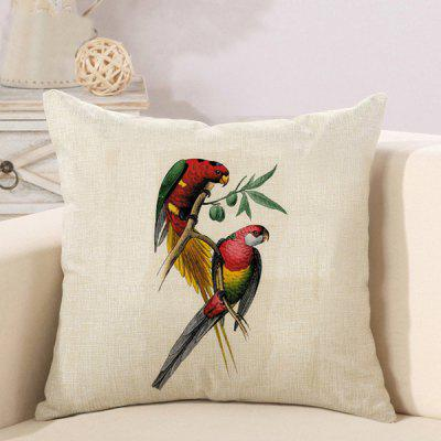 LAIMA Soft Pillowcase Parrot Printed Square Pillow Cover