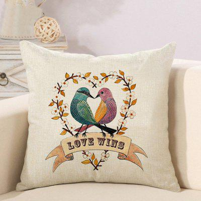 LAIMA Soft Pillowcase Birds Printed Square Pillow Cover