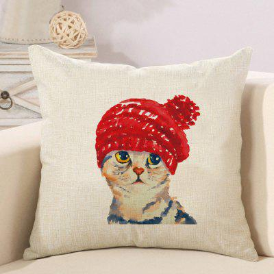 LAIMA Soft Pillowcase Cute Cat Printed Square Pillow Cover