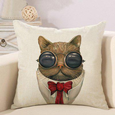 LAIMA Soft Pillowcase Glasses Cat Printed Pillow Cover