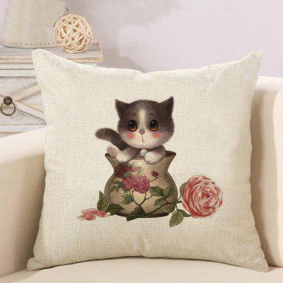 LAIMA Soft Pillowcase Cup Cat Printed Square Pillow Cover