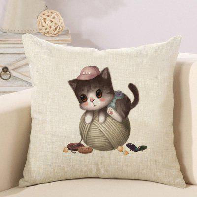 LAIMA Soft Pillowcase Naughty Cat Printed Pillow Cover