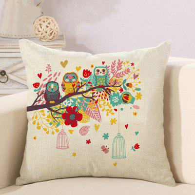 LAIMA Soft Pillowcase Owls Printed Square Pillow Cover