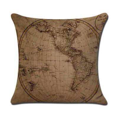 LAIMA Soft Pillowcase World Map Printed Square Pillow Cover