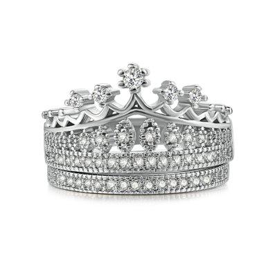 Crown Women Ring Set with Artificial Diamonds