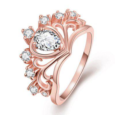 Crown Heart-shaped Women Ring with Artificial Zircons