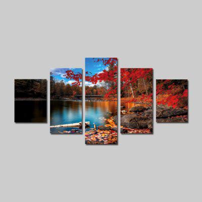 God Painting Canvas Prints Autumn View Arte de la pared 5PCS