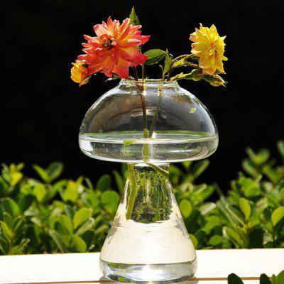 Transparent Glass Mushroom Vase 2pcs