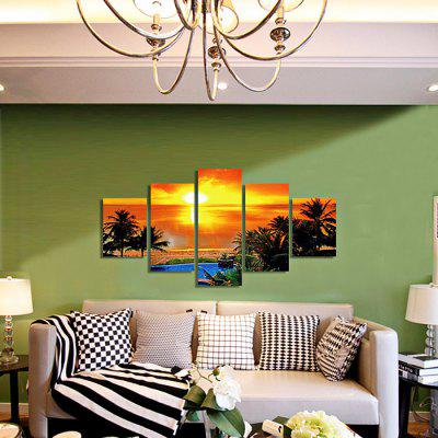 God Painting Sunset Canvas Prints Unframed Wall Art 5pcs