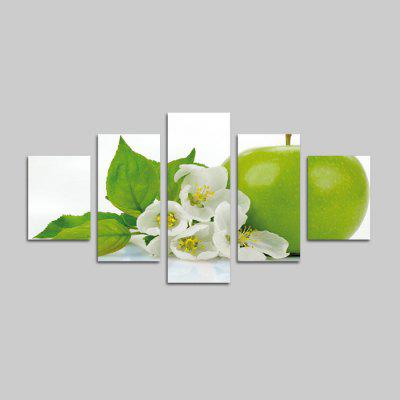 God Painting Green Apple Print Canvas Wall Decor 5PCS
